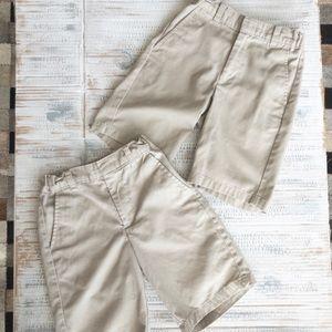 2 identical boys khaki shorts